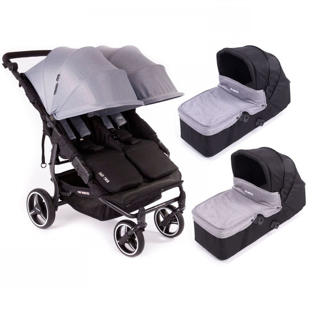 coche gemelar Easy Twin 3S Heather Grey Baby Monster