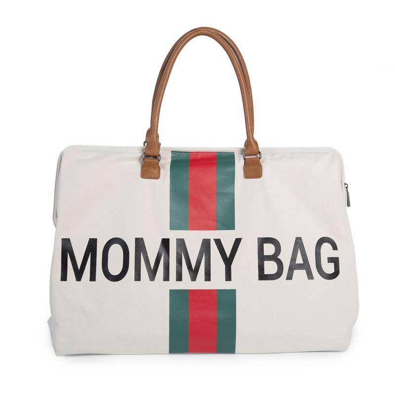 Mommy Bag - Líneas Rojas y Verdes - Blanca