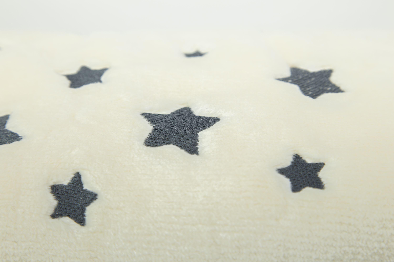 Manta Cuna 110x140 cm. Algodón Beige con Estrellas Bordadas