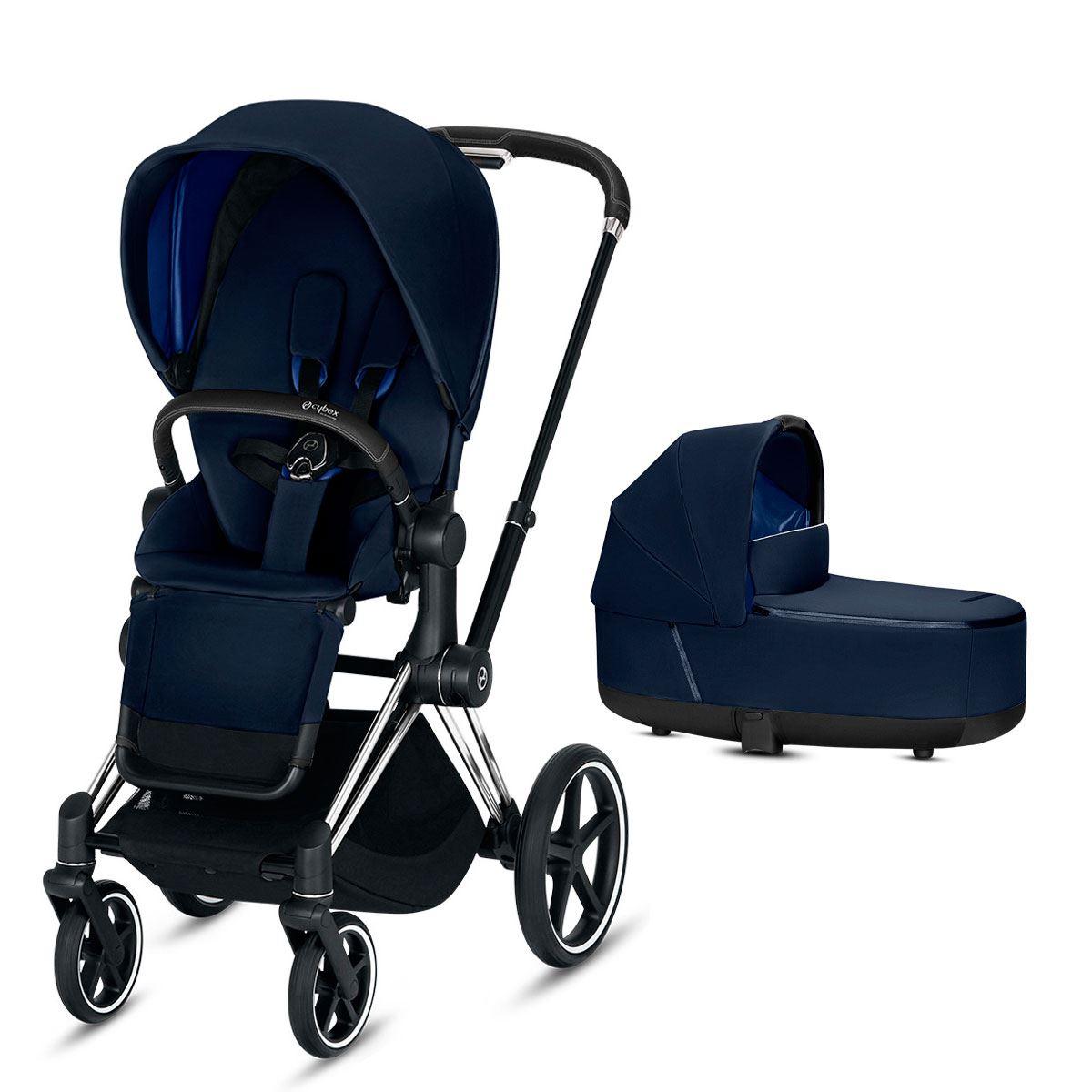 Duo Priam con silla lux y capazo lux indigo blue chasis cromado black