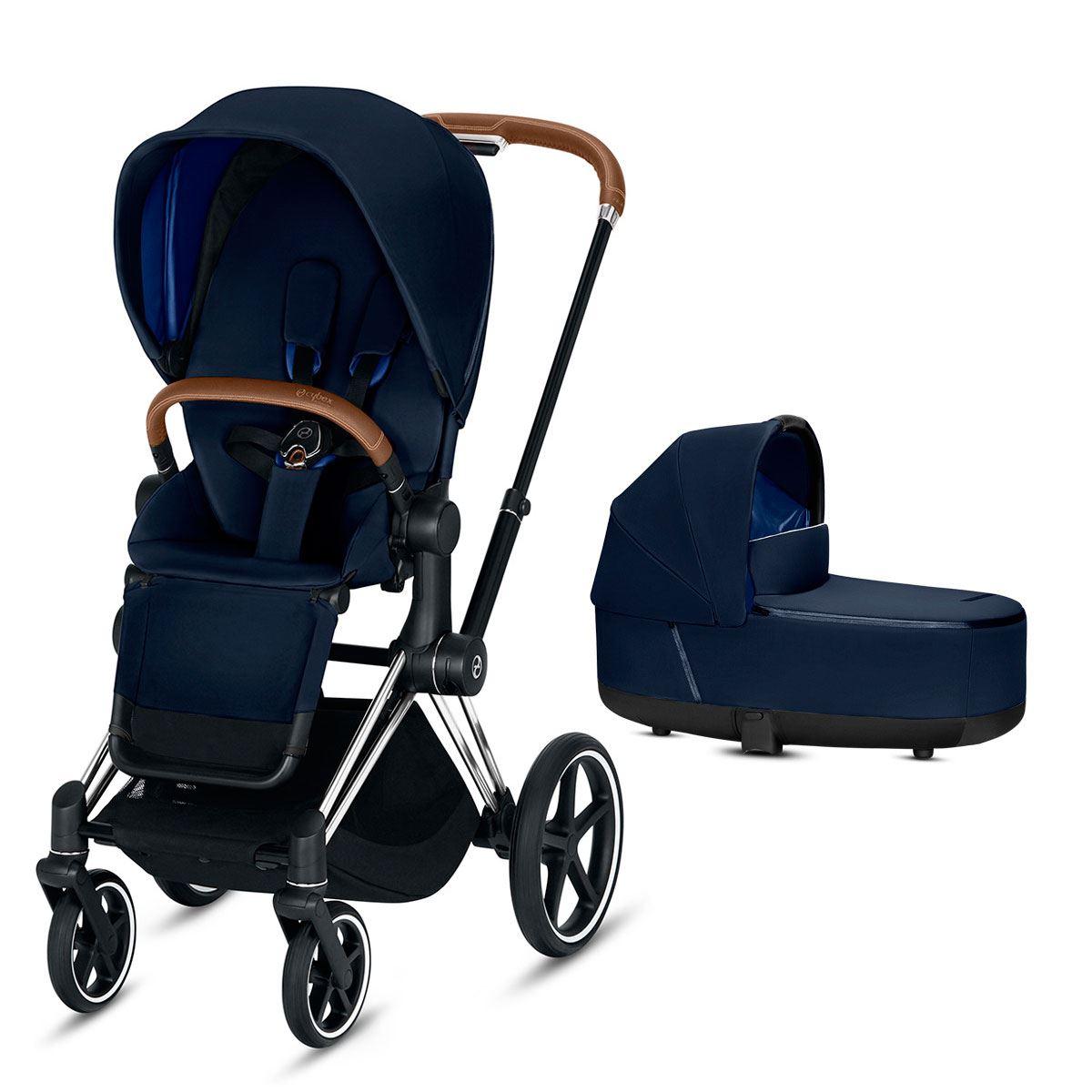 Duo Priam con silla lux y capazo lux indigo blue chasis cromado marron