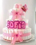 Tarta de pañales grande rosa